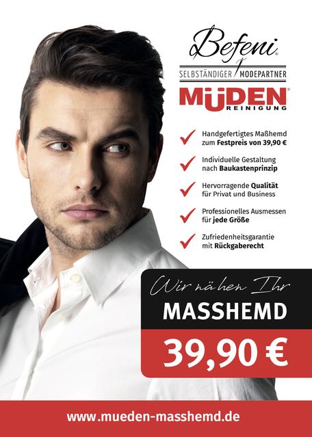 Versandreinigung-mueden.de, Masshemd, Befeni Werbeflyern Vorderseite