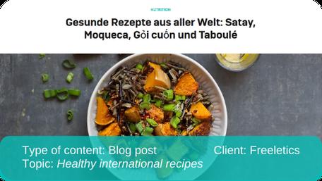 Translation of blog post: Healthy international recipes
