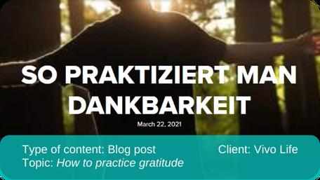 English to German translation of blog post: How to practice gratitude