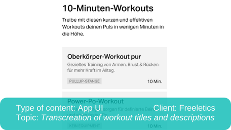 Localisation of app UI: Transcreation of workout titles and descriptions