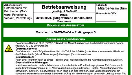 Betriebsanweisung gemäß SARS-CoV-2-Arbeitsschutzstandard 16.04.2020
