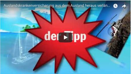 """Youtube Anzeige Video """"Auslandskrankenversicherung aus Ausland heraus verlängern"""""""