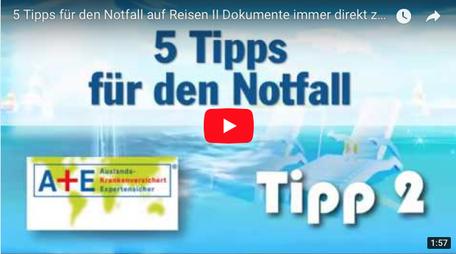 """Youtube Anzeige Video """"5 Tipps für den Notfall auf Reisen"""""""