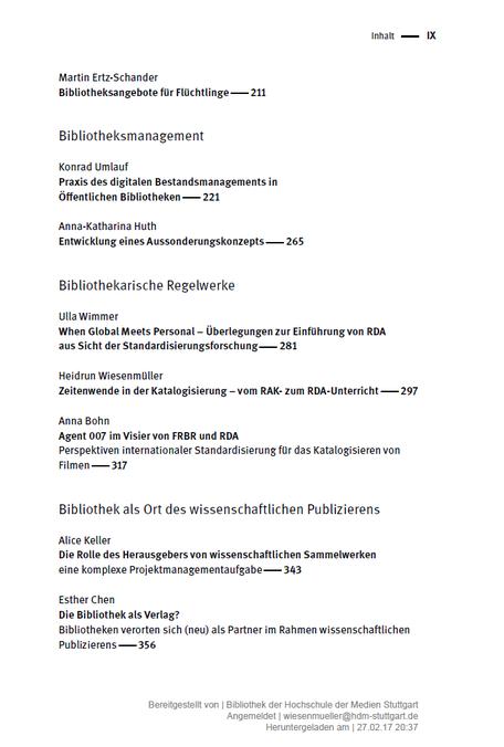 Ausschnitt aus dem Inhaltsverzeichnis der Festschrift für Petra Hauke