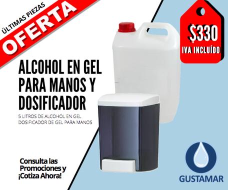 PAQUETE DE ALCOHOL EN GEL Y DOSIFICADOR MANUAL