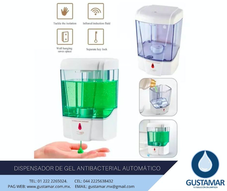 DISPENSADOR DE GEL ANTIBACTERIAL DE SENSOR