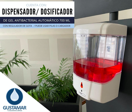 DISPENSADOR DE GEL ANTIBACTERIAL AUTOMÁTICO 700 ML