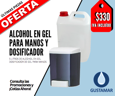 DOSIFICADOR MANUAL Y ALCOHOL EN GEL $330