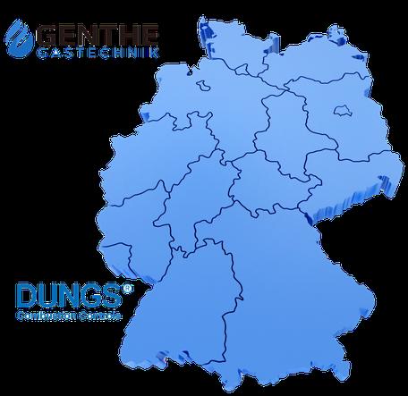 Deutschland Karte DUNGS Händler Genthe Gastechnik Hamburg