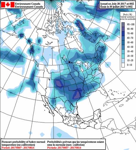Simulations numériques d'Environnement Canada (ici, prévision d'ensemble nord-américain SPENA)