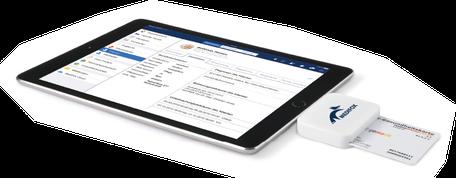 Tablet mit krankenkassenkarten reader