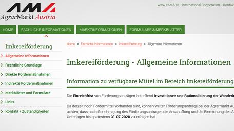 Hier findet man die aktuellen Imkereiförderung der AMA - Agrarmarkt Austria