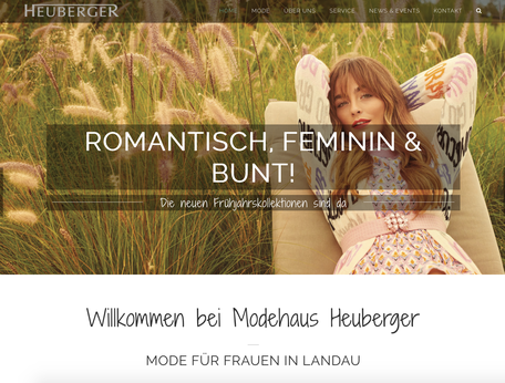 Screenshot Webseite Modehaus Heuberger