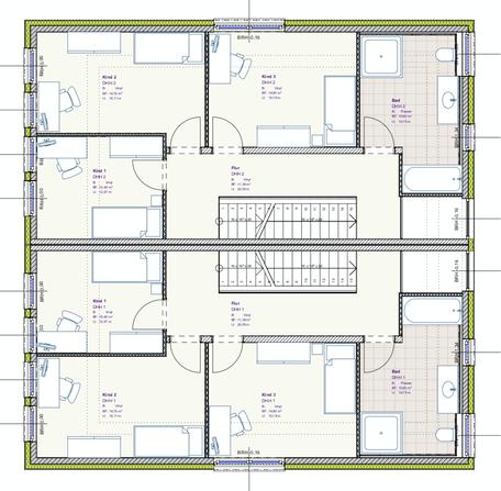 Grundriss Obergeschoss DHH Buchenallee 3 und 3a