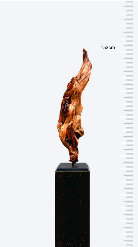 Zirbenskulptur: Die Flamme