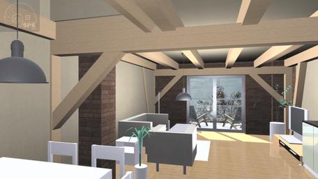 Virtuelles, exemplarisches Bild eines Wohnbereiches, Haus 1