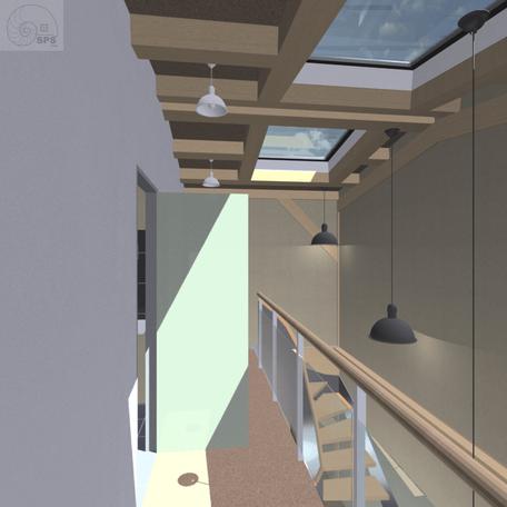 Virtuell erstelltes Bild der Flurgalerie im oberen Geschoss der Maisonettehäuser mit Dachoberlichtern