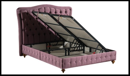 storage bed with orthopedic mattress opened