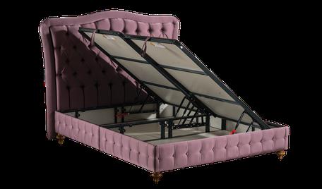 Bett mit Aufbewahrungsfunktion einschl. Betthaupt Valentino und Matratze, geöffnet