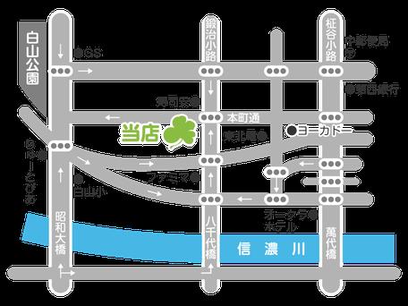 新潟市中央区の漢方相談ができる漢方薬局「西山薬局」の略地図