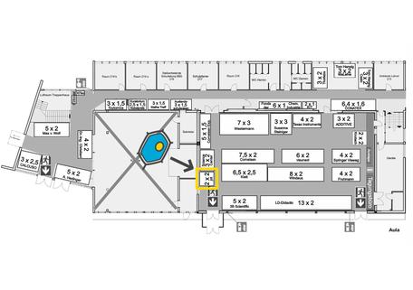 Gebäudeplan mit Aufteilung der Ausstellerfläche