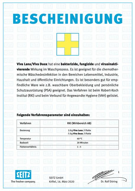 mueden.de, Waschservice, Bescheinigung Seitz, RKI 40 Grad