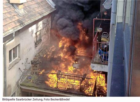BLOG, Balkonbrand Großherzog-Friedrichstr. 12 in 66111 Saarbrücken neben der Müden Reinigung