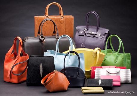 mueden.de, Ledertaschen, Ledertaschenreinigung, Bild von mehreren Lederhandtasche mit Webadresse