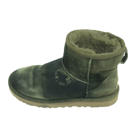 mueden.de, Lammfellboots in Farbe dunkelgrün von Reinigung