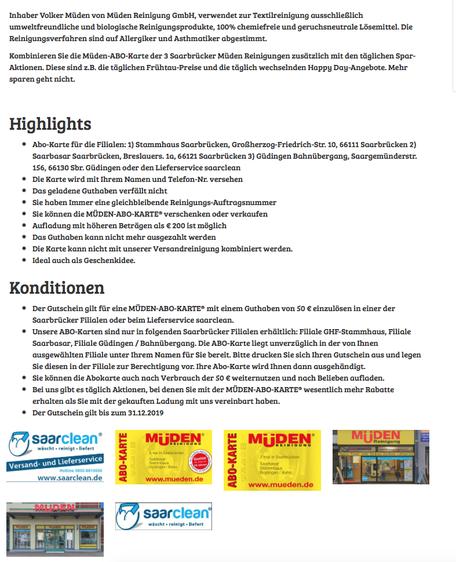 Werbung Saarland Deal November 2016, Bild mit Text aus Saarbrücker Zeitung