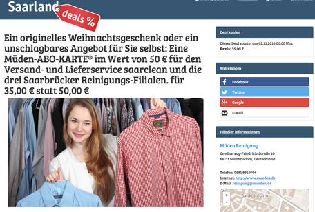 Presseberichte, Werbung Saarland Deal November 2016, Bild mit Hemdenfrau