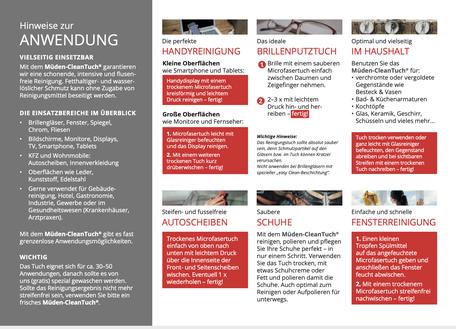 mueden.de Cleantuch,Anwendungs-Hinweis, Cover Rückseite