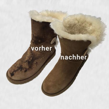 mueden.de, Lammfellboots reinigen, Bild von braunen Stiefeln mit Fell innen, Vorher Nachher