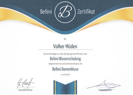 mueden.de, massmode, Bild von Befeni Zertifikat Volker Müden