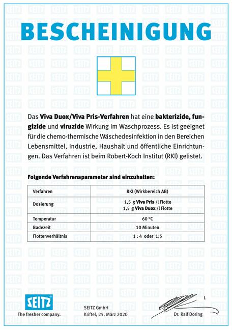 mueden.de, Waschservice, Bescheinigung Seitz, RKI 60 Grad
