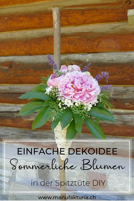 Deko Idee: Sommerliche Blumen in der Spitztüte