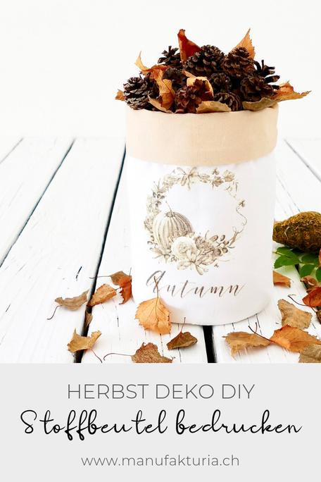 Herbdeko DIY: Stoffbeutel mit Zapfen