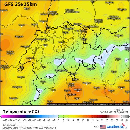 GFS, Temperatur für Deutschland