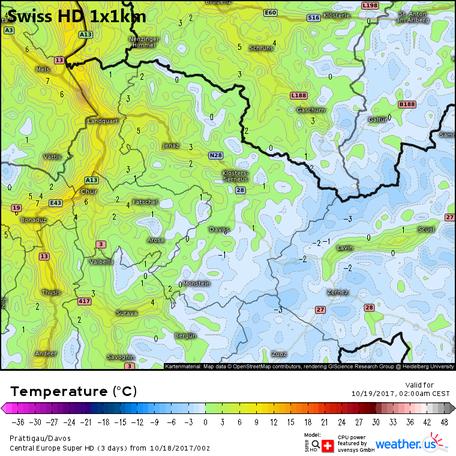 Swiss HD, Temperatur für Davos