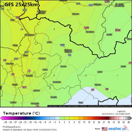 GFS, Temperatur für Davos