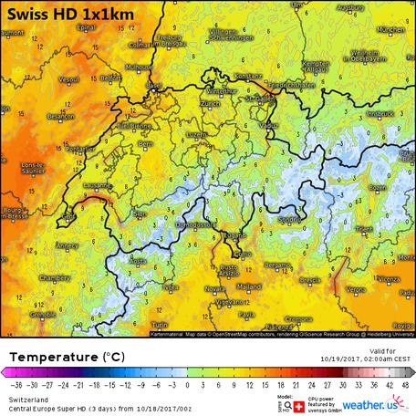 Swiss HD, Temperatur für die Schweiz