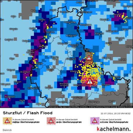 Sturzlut/Flash-Flood-Tool der Kachelmann GmbH, Luxembourg