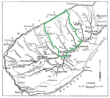 �bersichtskarte der Durreck-Gruppe (aus SCHWARZWEBER 1910). Das Arbeitsgebiet vorstehender Arbeit ist gr�n umrahmt. (Das westl. des Durreck eingezeichnete Durreck-Kees existiert heute nicht mehr)