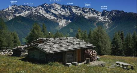 Durreck und Teile des Arbeitsgebiets aus N von den Holzerb�den (Keilbachspitze, Zillertaler Alpen)