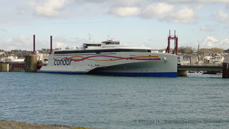 Condor Liberation being prepared for a crossing to Jersey, pictured in Saint-Malo.