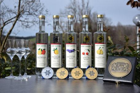 Bayerische Obstbrandprämierung Hof Ganal Schnaps Goldmedaille