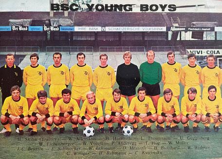 YB Kader 1968 Messerli, Müller, Reimers, Hüsler, Grosser, Wüthrich, Thomann, Guggisberg, Bützer, Hofmann, Marti, Meier, Lehmann, Ansermet, Fischer, Widmer, Scheibel, Kellas