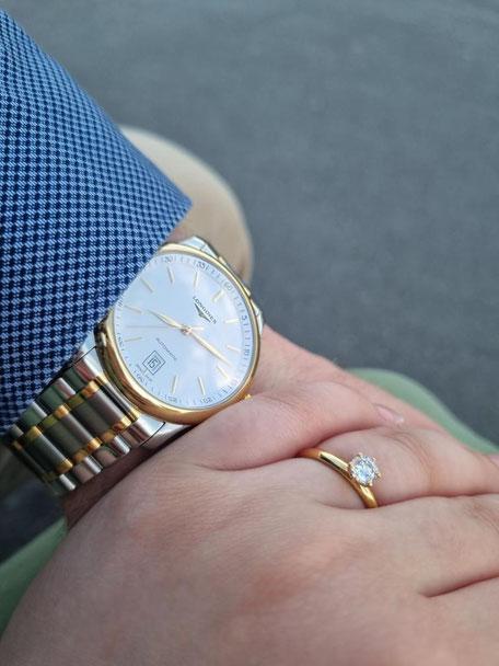 Verlobungsring und Verlobungsuhr