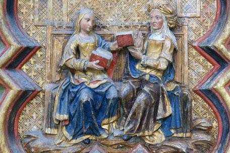 Maria bei Elisabeth, Altarbild in der Kathedrale von Amiens/Frankreich