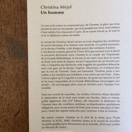 Quatrième de couverture Un homme de Christina Mirjol